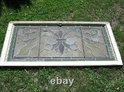Vtg Handsome Large Complete Architectural Stained Glass Panel 43 1/2 Wide