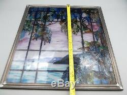 Vtg MMA Tiffany Stained Glass Window Panel View of Oyster Bay Pewter Frame Met