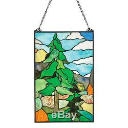 Wilderness Art Stained Glass Panel Tiffany Style Wall Hanging, Sun Catcher