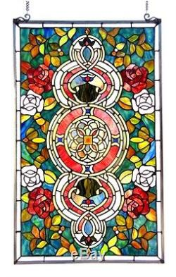 Window Panel Floral Medallion Design 20 W X 32 L Tiffany Style Stained Glass
