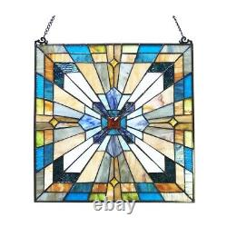 Window Panel Mission Arts Crafts Stained Glass Tiffany Style LAST ONE THIS PRICE