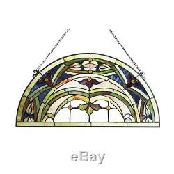 Window Panel Semi Circle Victorian Stained Glass Tiffany Style 12.5 W x 24 H