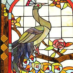 Window Panel Stained Glass Suncatcher Peacock and Floral Theme 33 In x 20 In