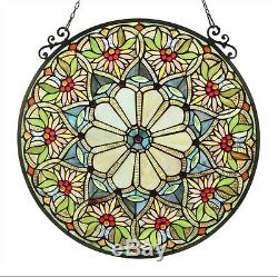Window Panel Tiffany Style Cut Stained Glass Summer Floral Design 23.4 Round