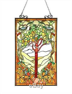 Window Panel Tree Of Hope Design 20 W X 32 L Tiffany Style Stained Cut Glass
