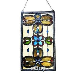 Window Panel Victorian Design Stained Glass Tiffany Style 15 Wide x 26 Tall
