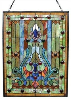 Window Panel Victorian Design Tiffany Style Stained Glass 18 Wide x 24 High
