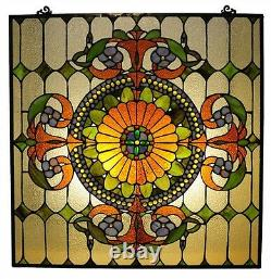 Window Panel Victorian Design Tiffany Style Stained Glass 25 Wide x 25 High