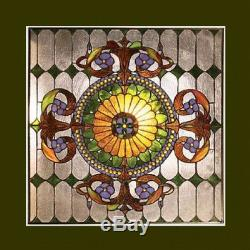 Window Panel Victorian Design Tiffany Style Stained Glass 25 x 25 MATCHED PAIR